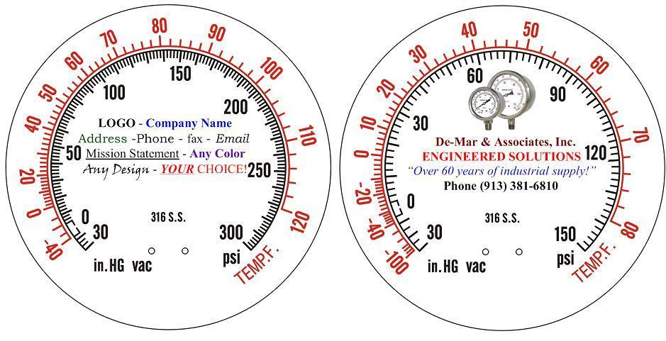 De-Mar & Assoc. - Engineered Solutions - Ammonia Pressure Gauge Dial Faces
